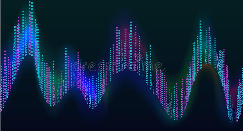 Disco rainbow colored music sound waves for equalizer or waveform design, vector illustration of musical pulse.  vector illustration