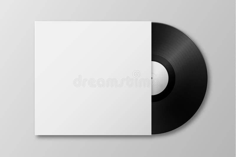 Disco realistico di LP del vinile del grammofono di musica 3d di vettore con il primo piano dell'icona della copertura isolato su illustrazione vettoriale