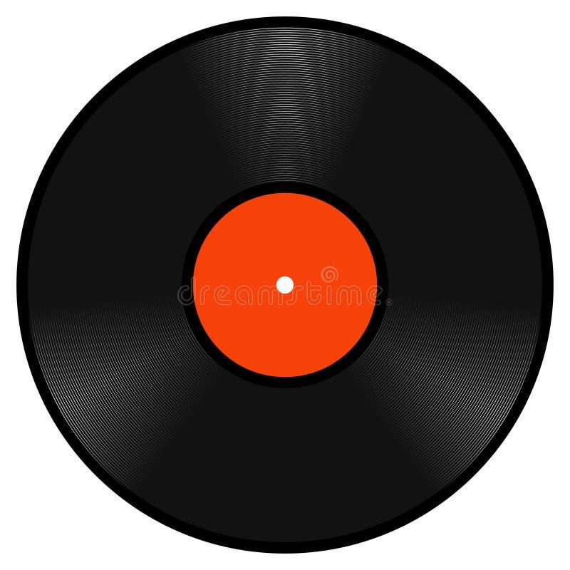 Disco retro realista del disco de gramófono del vinilo, disco del disco de gramófono del vinilo del vintage de la plantilla del l stock de ilustración