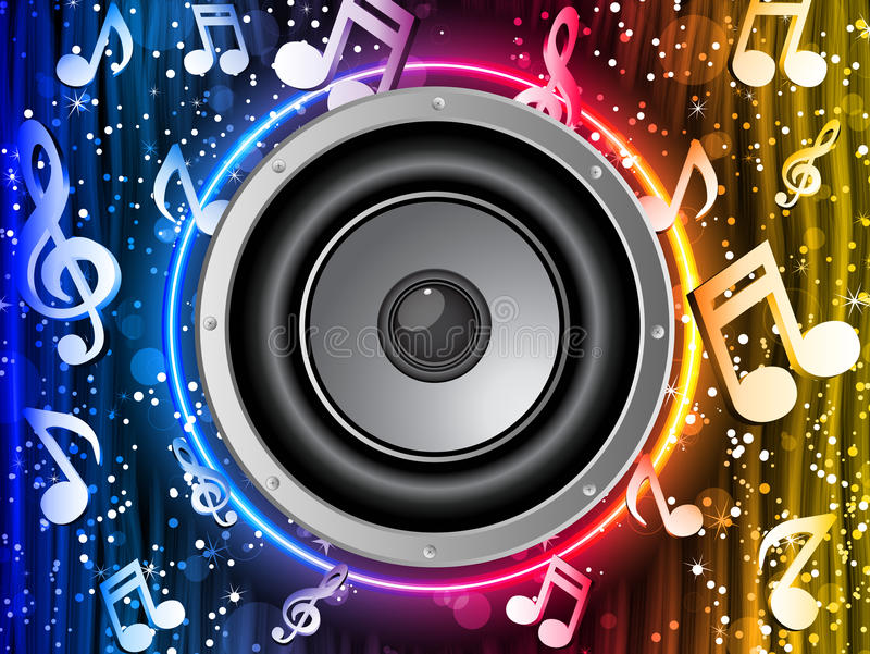 Disco Speaker with Music Notes royalty free illustration