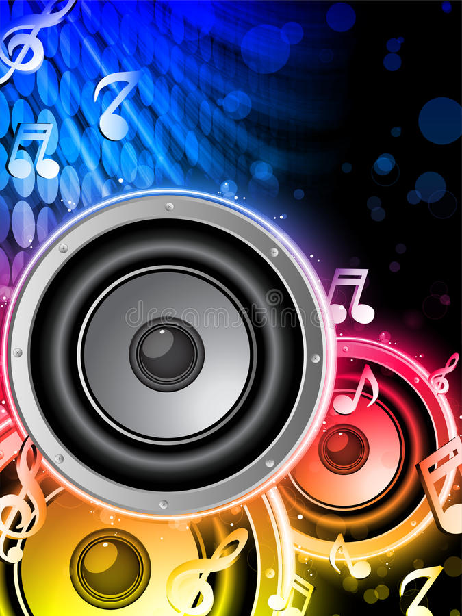 Disco Speaker with Music Notes vector illustration