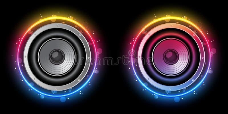 Disco Speaker Rainbow Circle vector illustration