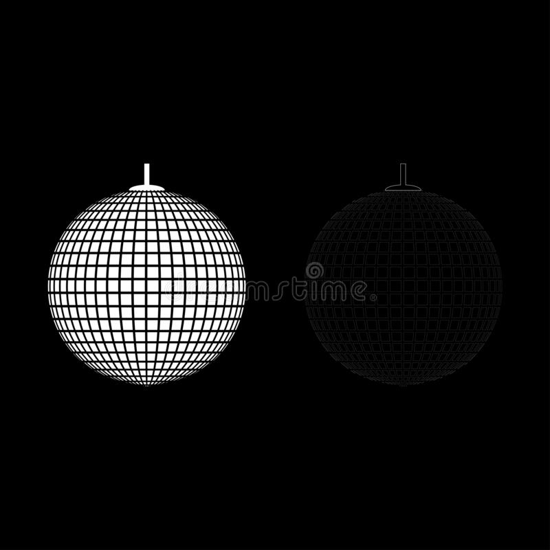 Disco sphere suspended on line rope Discotheque ball Retro night clubs symbol Concept nostalgic party icon outline set white vector illustration