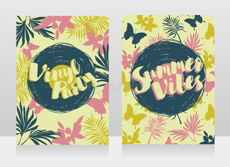 Disco style invitations in trendy tropical style stock illustration