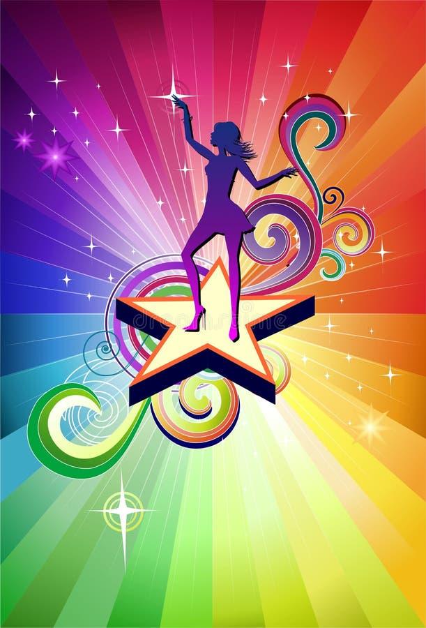 Disco-Tanzenmädchen lizenzfreie abbildung
