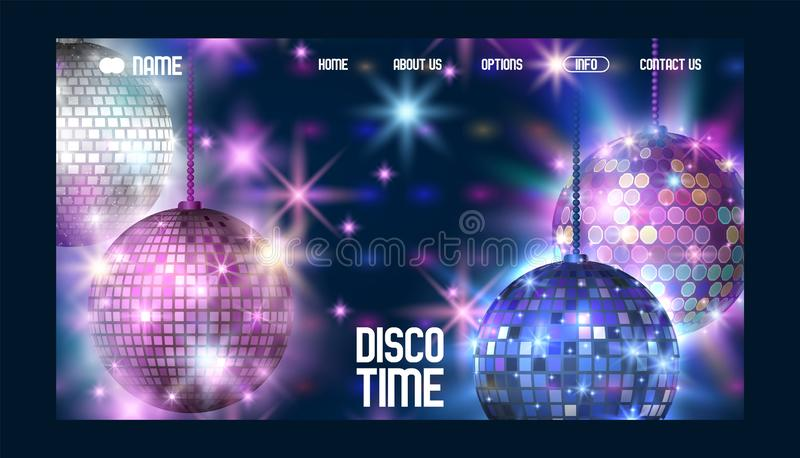 Disco time banner website design vector illustration. Life begins at night. Entertainment and event, disco show. Shining. Disco ball. Club party light element vector illustration