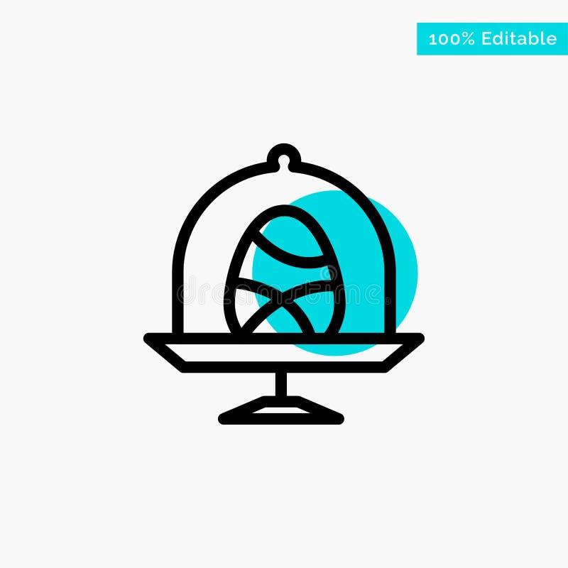 Disco, uovo, alimento, icona di vettore del punto del cerchio di punto culminante del turchese di Pasqua illustrazione di stock