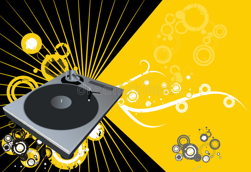 Disco Vector. Retro vector with grunge background and a dj mix turntable. Concept: Party and entertainment royalty free illustration