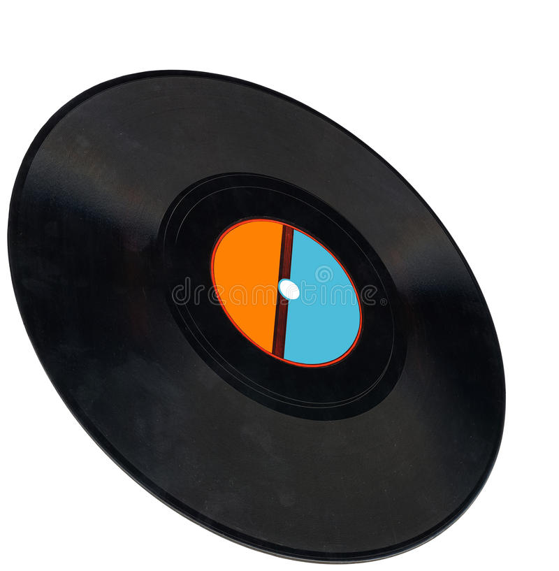 Disco, vintage vinyl record, clipping path, coal. Single old retro vynil 78rpm audio record (object soundtrack frame) with scratches, blue, orange label royalty free stock photography
