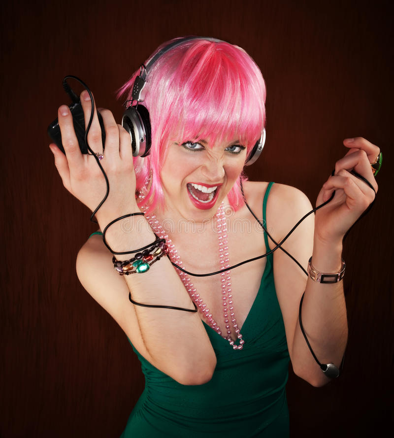 Disco Woman with Pink Hair royalty free stock photos