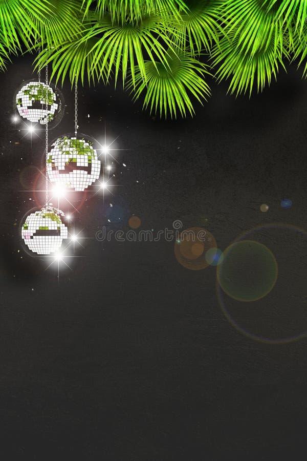 Discobal met heldere stralen en hoogtepunten Drie discoballen tegen een zwarte muur en palmbladen met beschikbare ruimte voor tek stock illustratie