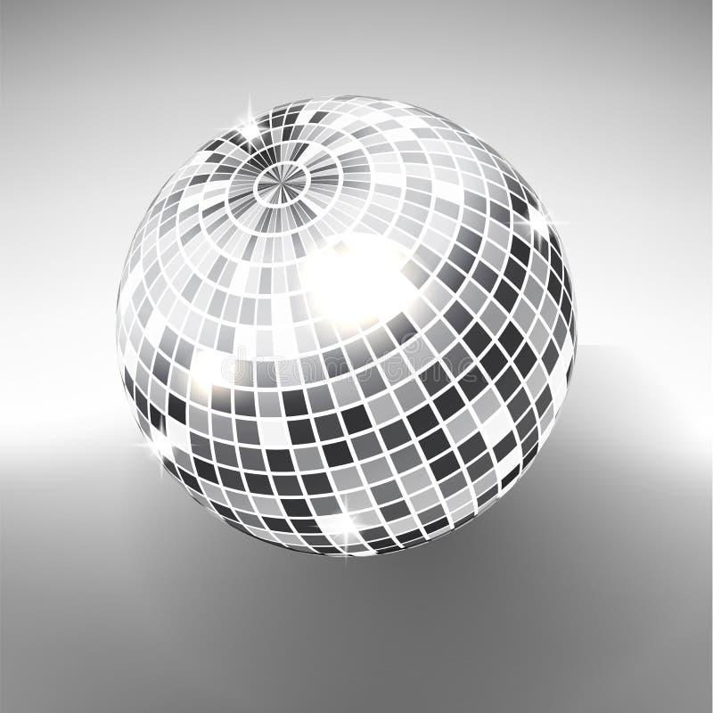 Discoball lokalisiert auf Grayscalehintergrund Nachtclub-Parteilichtelement Helles Spiegelsilber-Balldesign für Discotanzverein vektor abbildung
