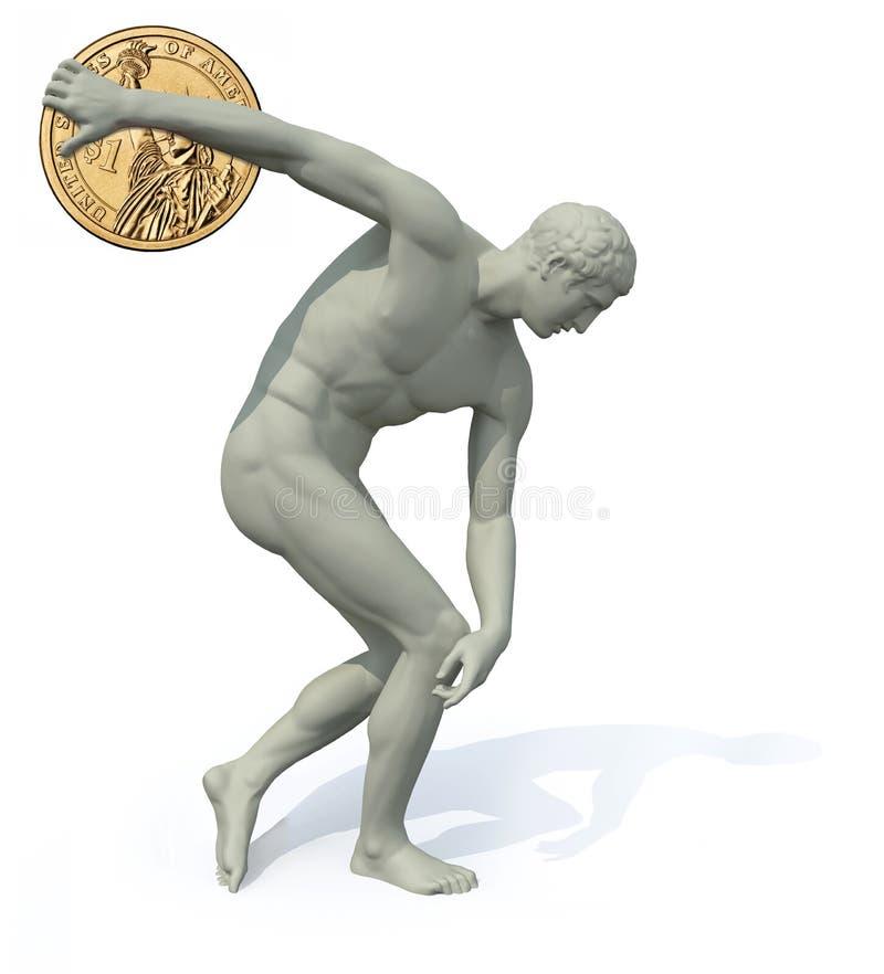 Discobolus с запускать монетки доллара иллюстрация вектора