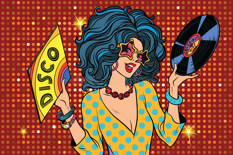 Discodiva retro dame stock illustratie