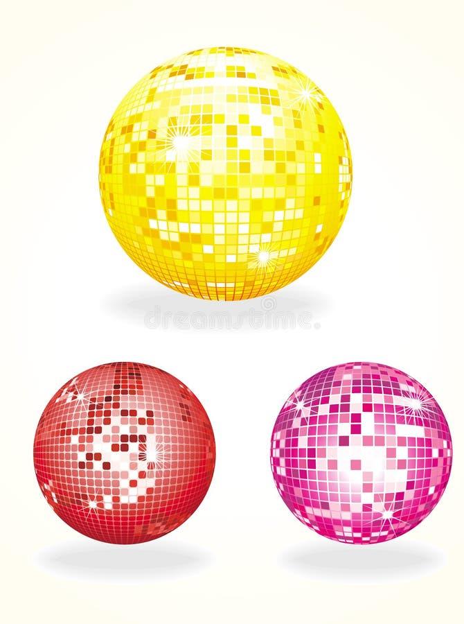 Discokugel in drei Farben stock abbildung