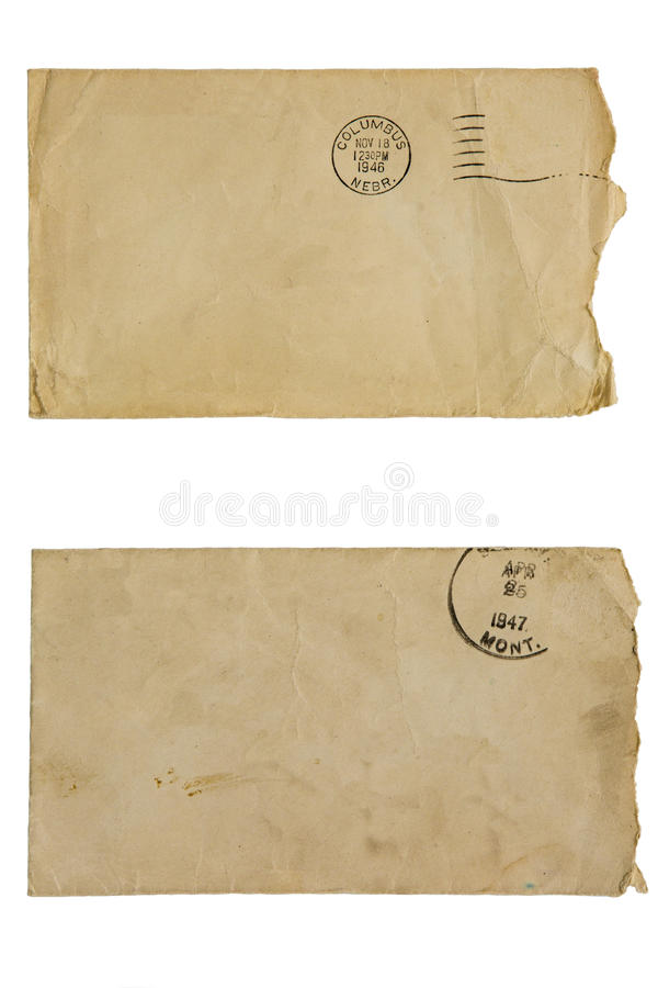 Discolored blank envelopes isolated mail collage royalty free stock photography