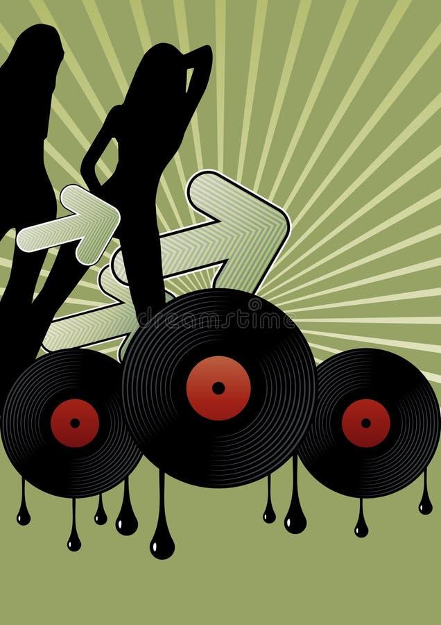 Discomädchen und Vinylsätze lizenzfreie abbildung