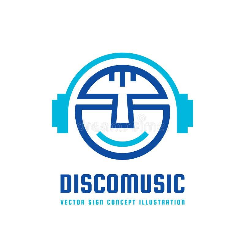 Discomusik - vector Logokonzeptillustration im flachen Artdesign Audiozeichen mp3 Moderne solide Ikone DJ-Symbol Vorbildlicher Ko stock abbildung