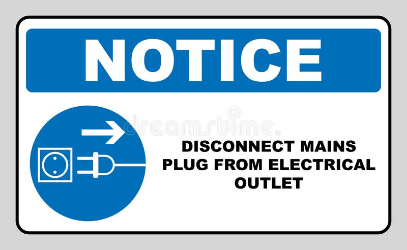 Disconnect mains plug from electrical outlet sign. Blue mandatory symbol. Vector illustration isolated on white. White simple pict vector illustration