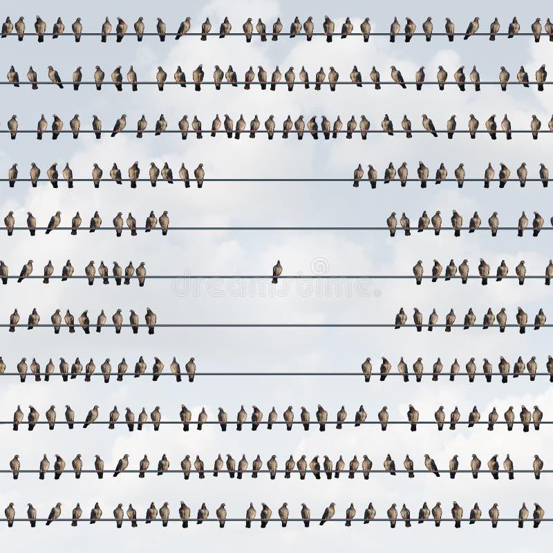 Disconnect och uteslutet begrepp stock illustrationer