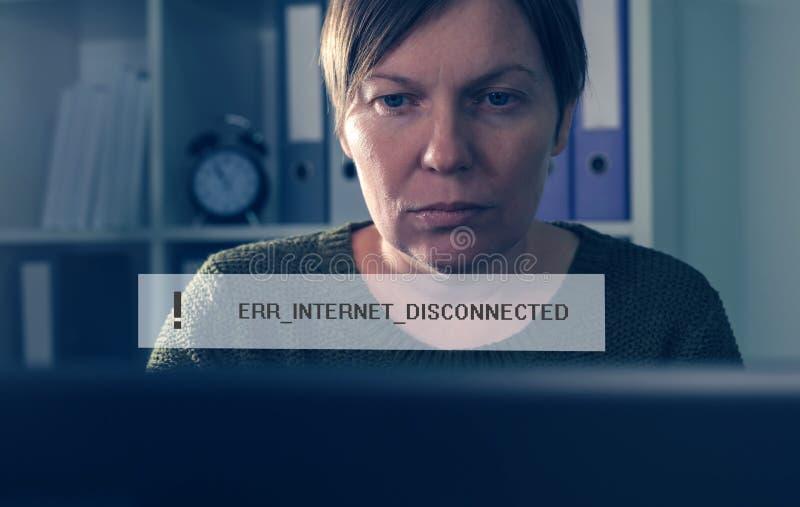 Disconnected сообщение об ошибках интернета стоковое изображение
