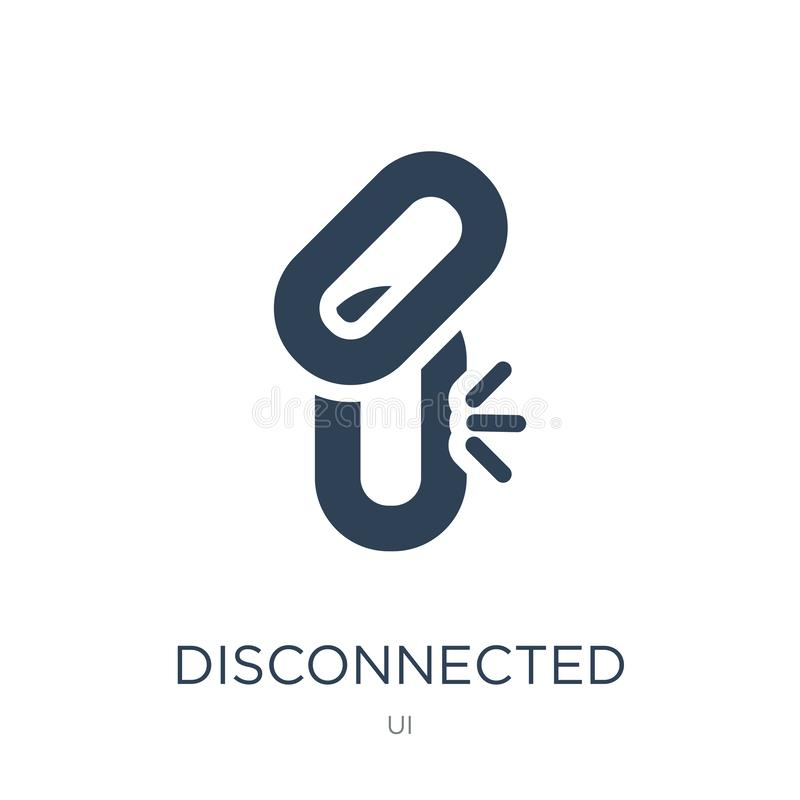 disconnected chains icon in trendy design style. disconnected chains icon isolated on white background. disconnected chains vector royalty free illustration