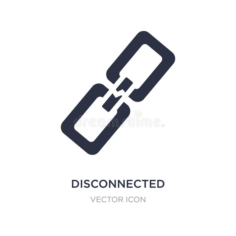 disconnected chains icon on white background. Simple element illustration from UI concept royalty free illustration