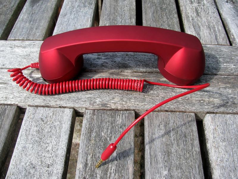 Disconnected red phone receiver stock photos