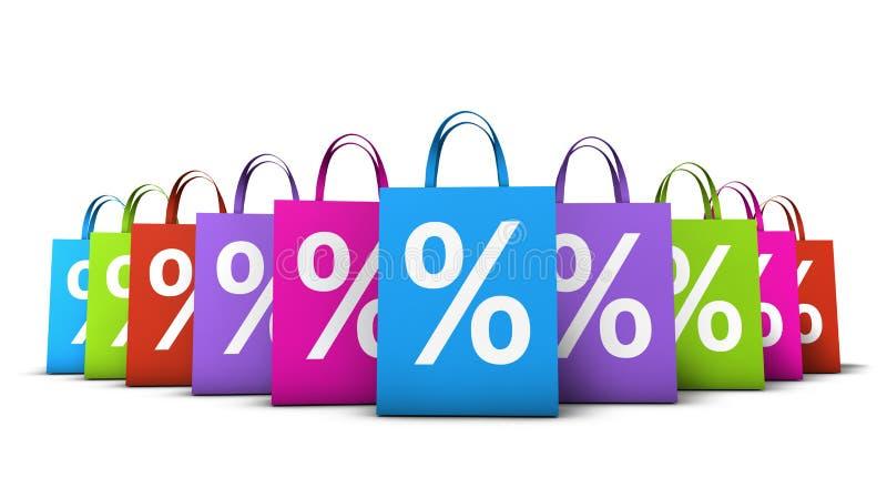 Disconto colorido dos sacos de compras ilustração do vetor