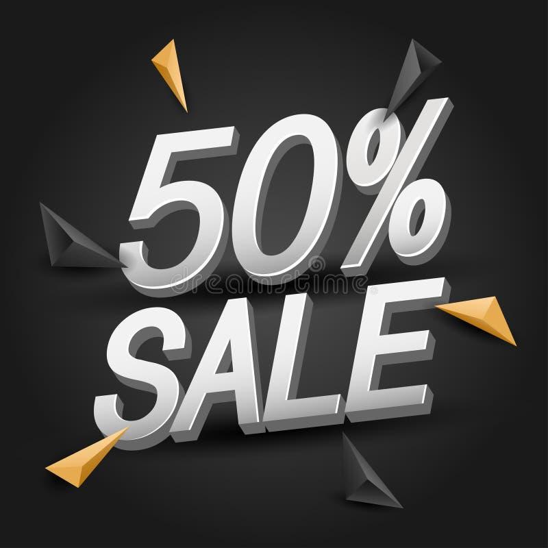 disconto de 50%, bandeira da venda 3D com elementos isométricos dos triângulos Fundo abstrato para anunciar o cartaz da Web Vetor ilustração do vetor