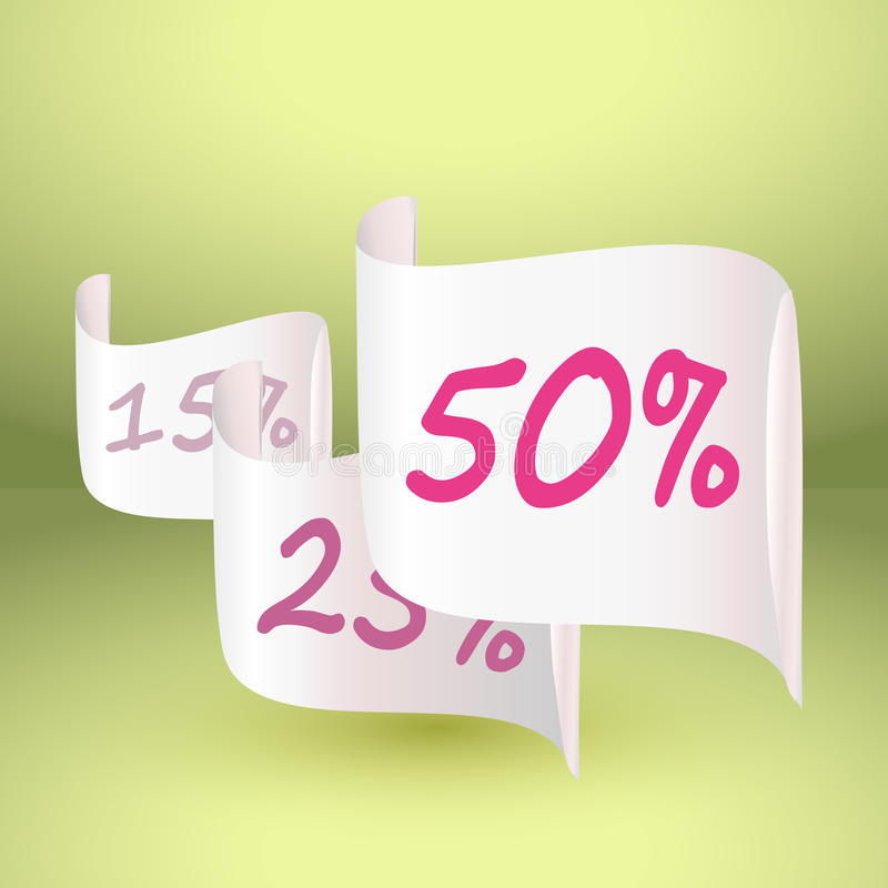 Disconto de 50 e outros por cento no papel realístico branco ilustração royalty free