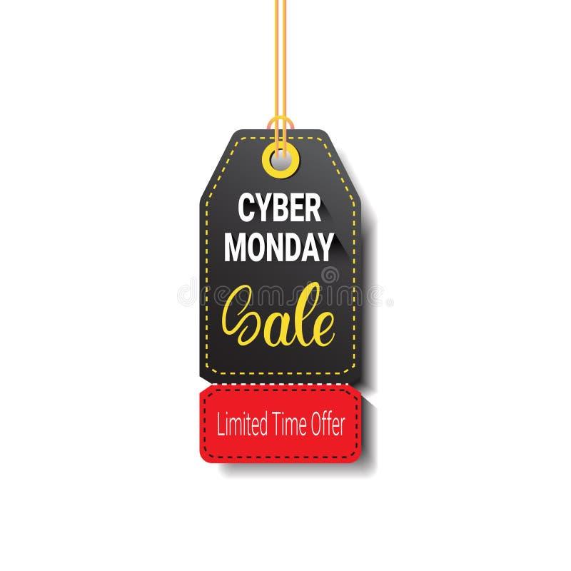 Disconto em linha isolado etiqueta Logo Design da compra da venda de segunda-feira do Cyber ilustração do vetor
