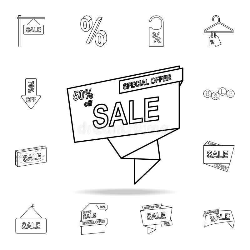 disconto 50 no ícone da fita Grupo detalhado de ícones da liquidação total Projeto gráfico superior Um dos ícones da coleção para ilustração stock