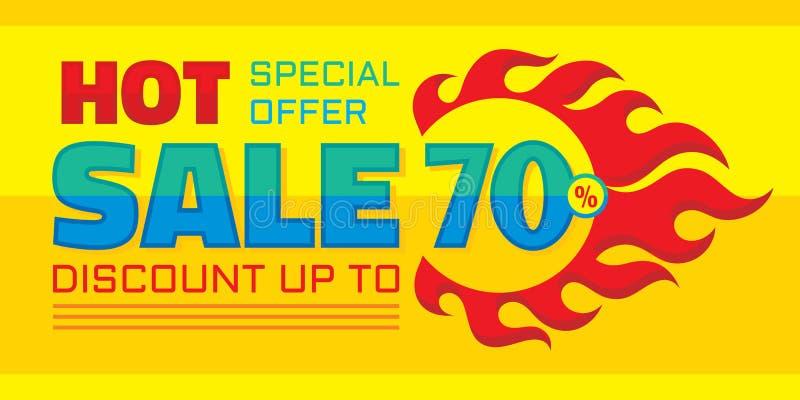 Disconto quente da venda até 70% - oferta especial - vector a ilustração horizontal da bandeira Projeto creativo do fundo ilustração stock