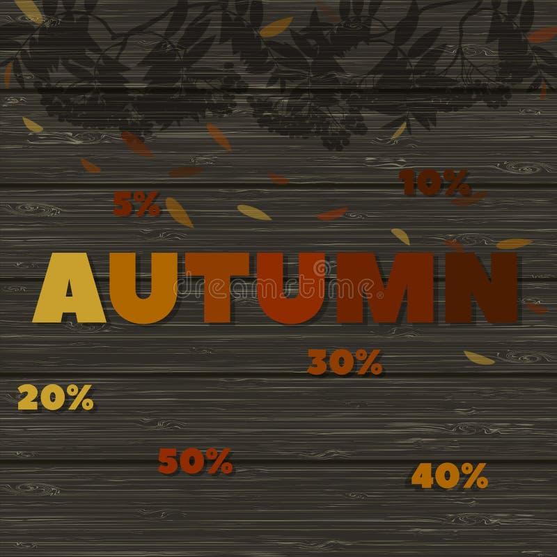 Discontos do outono imagem de madeira da textura com as palavras - a sombra do outono e de uma cinza de montanha ramifica ilustração royalty free