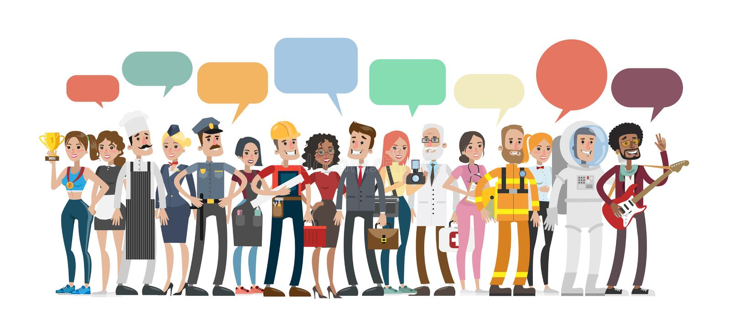 Discorso della bolla di professioni illustrazione vettoriale
