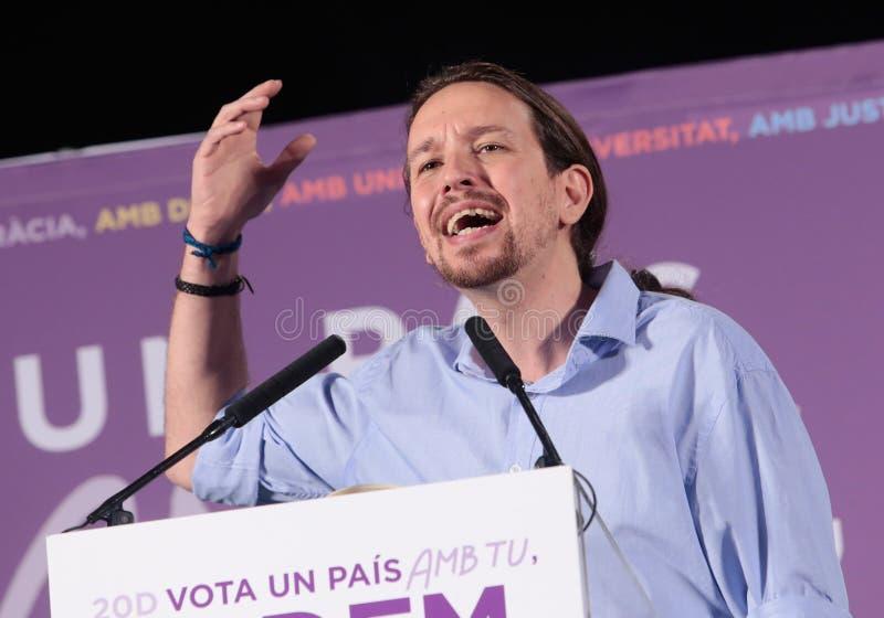 Discorso di Pablo Iglesias fotografia stock libera da diritti