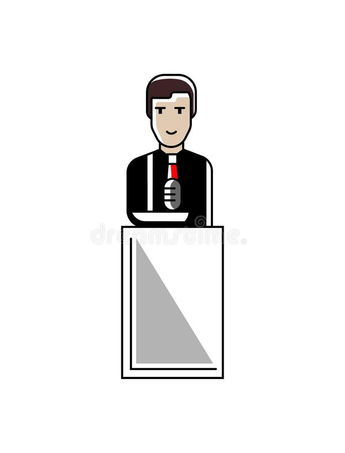 Discorso europeo dell'uomo d'affari sulla tribuna illustrazione vettoriale