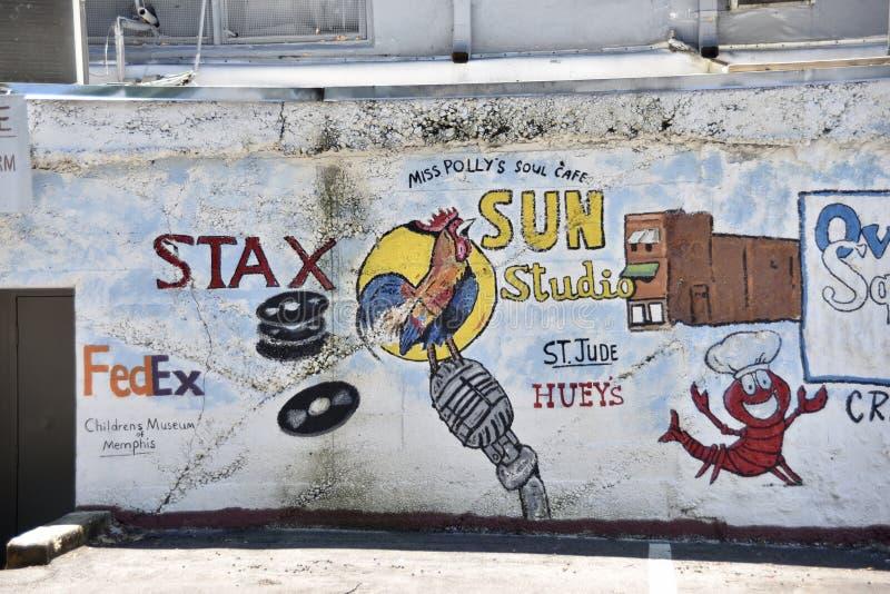Discos de Stax y arte y Freso, Memphis, TN de la pared del estudio de Sun imágenes de archivo libres de regalías