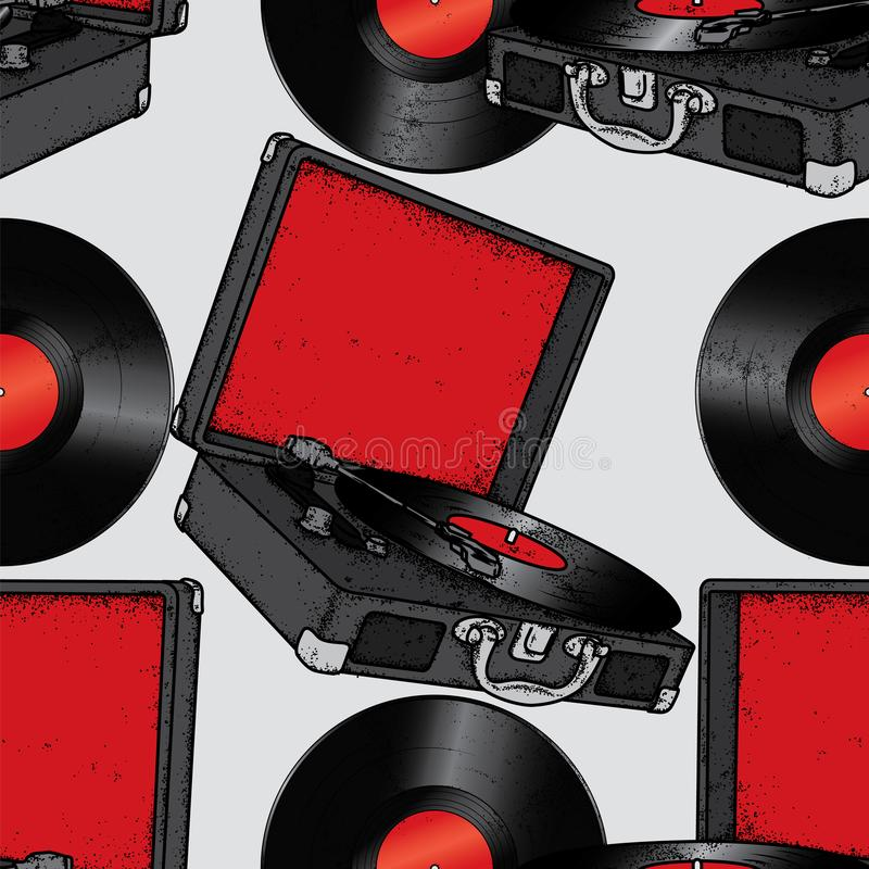 Discos de vinilo del tocadiscos del vintage vendimia Música Vector el ejemplo para una postal o un cartel stock de ilustración
