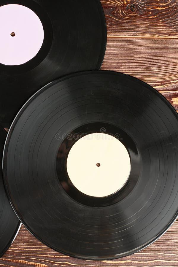 Discos de vinilo fondo, visión superior imagen de archivo libre de regalías