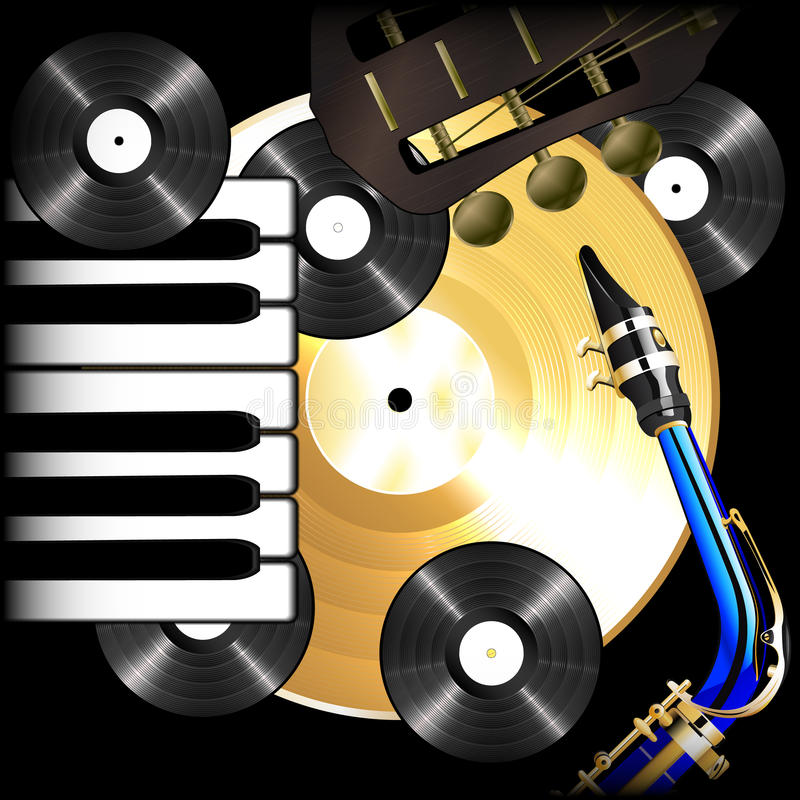 Discos de vinilo, saxofón, guitarra y piano de la música de fondo ilustración del vector