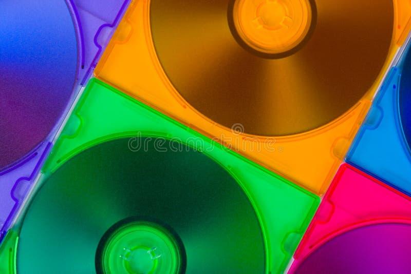 Discos del ordenador en rectángulos multiciolored imagen de archivo