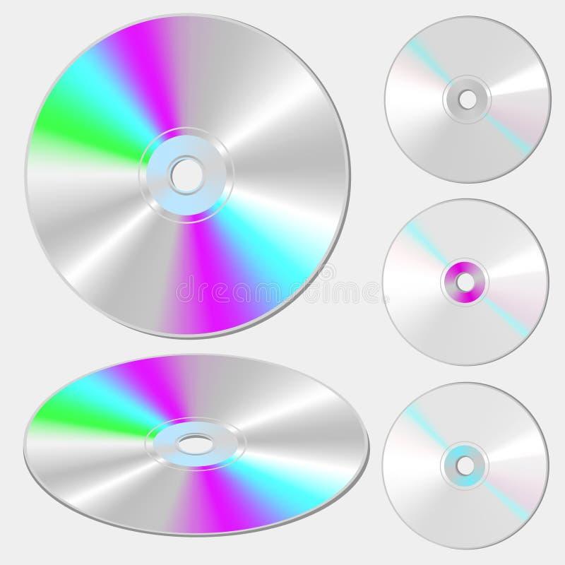 Discos del SD y del DVD en el fondo blanco ilustración del vector