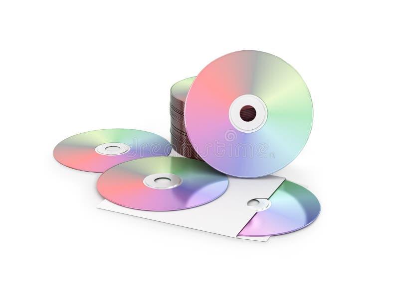 Discos do CD/DVD no branco ilustração stock