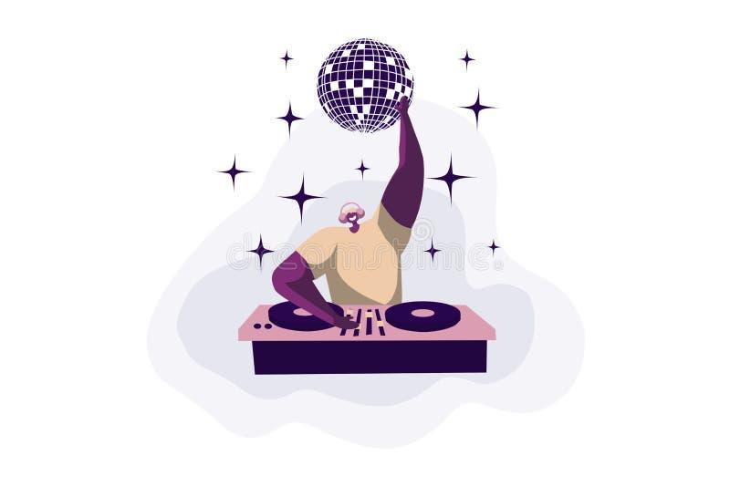 Discoteca del night-club, concerto techno, manifestazione di musica elettronica, giovane disc jockey in cuffie che graffiano i di royalty illustrazione gratis