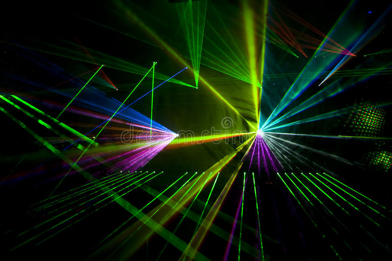Discoteca ed esposizione del laser fotografie stock