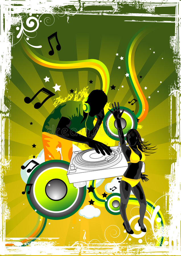 Discoteca verde elettrica illustrazione di stock