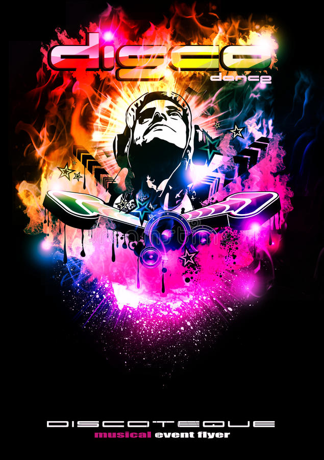 Download Discoteque Night Background With DJ Shape Stock Illustration - Image: 13007773