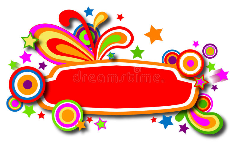 Discotheque colorful banner with stars royalty free stock images